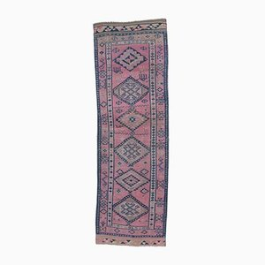 3x9 Vintage Turkish Oushak Fuschia Hand-Knotted Wool Runner