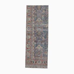 3x8 Vintage Middle East Handmade Blue Wool Kitchen Rug