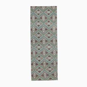 3x8 Vintage Turkish Oushak Handmade Wool Runner Rug in Green