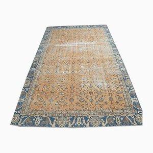 Orange Türkischer Vintage 6x10 Teppich mit Blumen- & Blauem Bezug