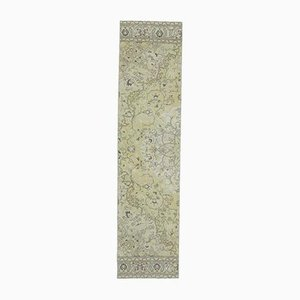 2x9 Vintage Turkish Oushak Handmade Wool Runner Rug in Green