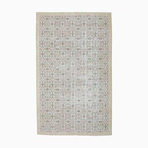 6x10 Handgemachter türkischer Vintage Oushak Blumen Teppich aus Wolle