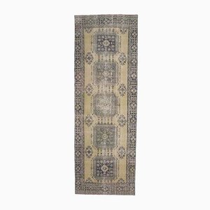 Türkischer Vintage Oushak 4x12 Teppich aus Wolle in Pastell-Optik