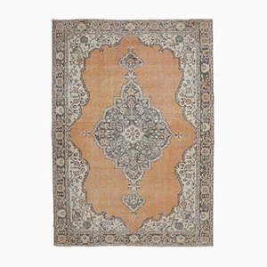 7x10 Vintage Middle East Oushak Handmade Orange Oriental Rug