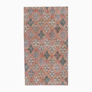 Tappeto 4x7 vintage in lana, Oushak fatto a mano, arancione