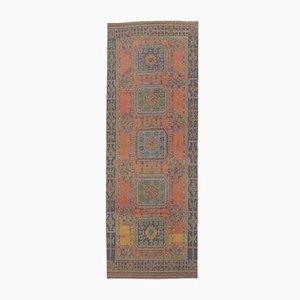 Tappeto 4x11 vintage fatto a mano di lana Oushak, Turchia