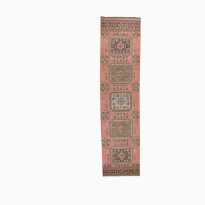 Tappeto da ingresso vintage Oushak in lana rossa a mano, Turchia, anni '50