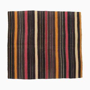 6x6 Vintage Turkish Oushak Handmade Black Wool Kilim Area Rug