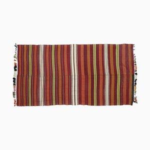 Handgefertigter türkischer Vintage 4 × 8 Oushak Kelim Wollteppich aus Wolle