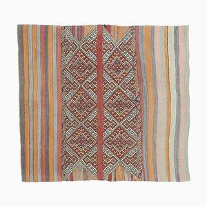 4x5 Vintage Turkish Oushak Handmade Wool Kilim Runner Rug