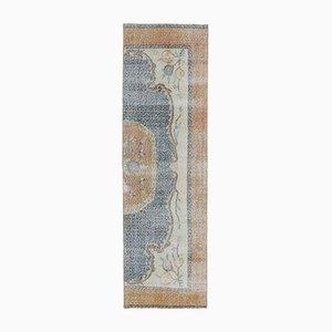 3x8 Vintage Turkish Oushak Handmade Wool Half Runner Rug