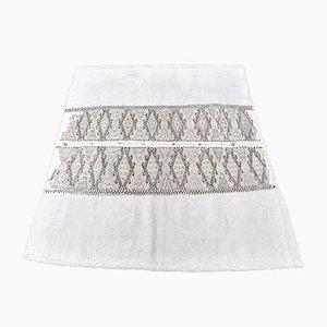 4x5 Vintage Turkish Oushak Handmade Wool Kilim Area Rug in White