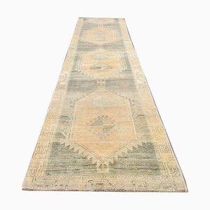 3x14 Antiker Türkisch Oushak Läufer Teppich aus Wolle
