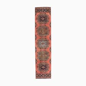 2x11 Vintage Turkish Oushak Handwoven Red Wool Hallway Runner