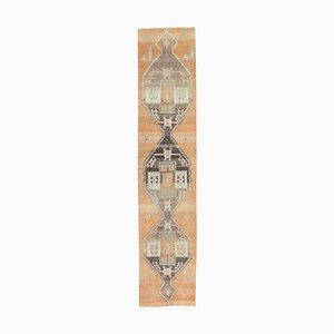 3x14 türkischer Vintage Oushak Teppich aus Wolle in Handarbeit