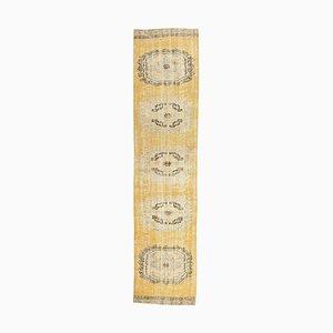 Tappeto antico Oushak 3x11 fatto a mano di lana gialla, Turchia