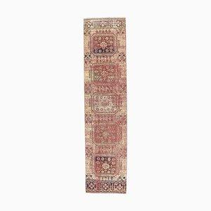 3x11 türkischer Vintage Oushak Handgewebter Korridor Läufer aus Roter Wolle