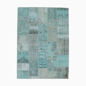 6x8 türkischer Vintage Oushak Teppich aus handgewebter Wolle