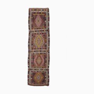 Handgemachter 4x14 türkischer Vintage Kilim Oushak Teppich aus handgewebter Wolle