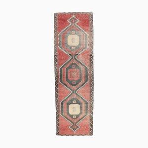 Tappeto Oushak 4x12 vintage in lana intrecciata a mano, Turchia