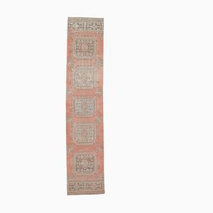 Tappeto da ingresso 2x11 vintage in lana rossa intrecciata a mano, Turchia