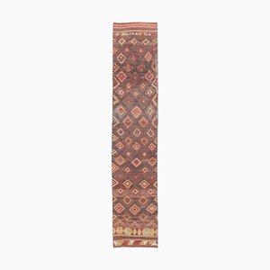 2x10 Türkischer Vintage Kilim Oushak Handgewebter Flachgewebe Teppich aus Wolle