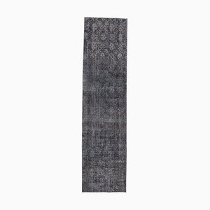 3x10 Vintage Turkish Oushak Handmade Black Solid Wool Runner