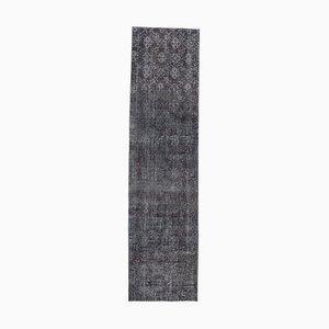 Tappeto Oushak vintage in lana nera fatto a mano nero 3x10