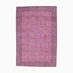 7x10 türkischer handgemachter Ouschak Wollteppich in eingefärbtem rosafarbenem floralen Muster