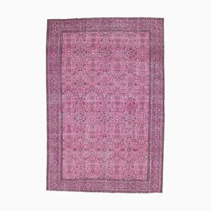 7x10 Turkish Oushak Handmade Wool Rug in Overdyed Pink Floral