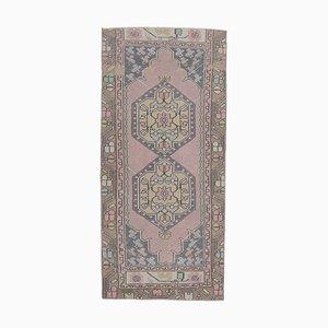3x6 Antique Turkish Oushak Handmade Wool Runner Rug in Purple
