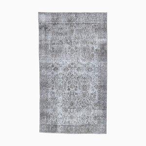 4x7 Vintage Turkish Oushak Handmade Wool Floral Rug in Gray