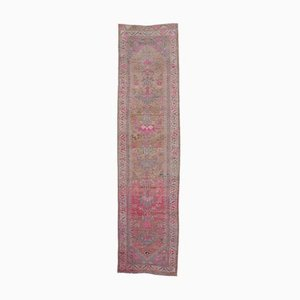 2x10 Vintage Turkish Oushak Runner in Hand-Knotted Pink Wool