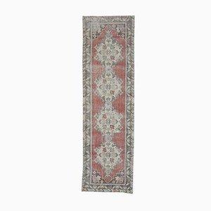 3x10 Vintage Turkish Oushak Handmade Wool Rug in Red & Gold