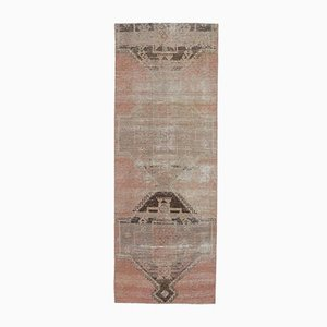 3x8 Vintage Turkish Oushak Handmade Wool Rug in Faded Red