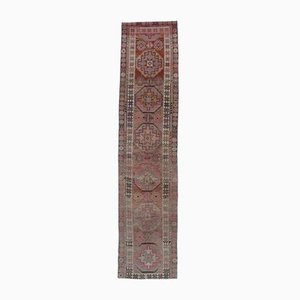 3x12 Vintage Turkish Oushak Runner in Hand-Knotted Red Wool