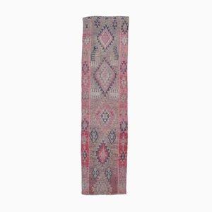 Handgeknüpfter Türkischer Vintage Oushak 2x9 Vintage Teppich aus Rosa Wolle