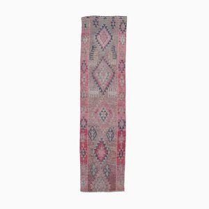 Tappeto Oushak 2x9 vintage in lana rosa, Turchia