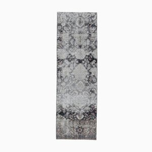 2x7 Vintage Turkish Oushak Handmade Wool Runner Carpet in Black