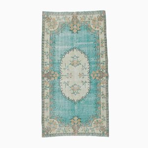 4x7 Vintage Middle East Oushak Handmade Teal Relic Wool Carpet