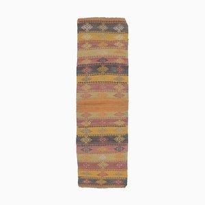 2x7 Vintage Turkish Oushak Handmade Wool Kilim Runner Rug