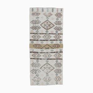 3x6 Vintage Turkish Oushak Handmade Wool Kilim Runner Rug