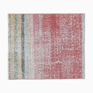 2x2 Türkischer Vintage Oushak Viereck Teppich mit Fußmatte