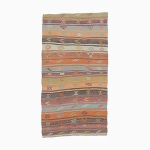 3x5 Türkischer Vintage Kilim Ouschak Handgewebter Flachgewebe Teppich aus Wolle
