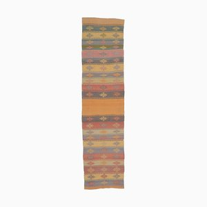 3x11 Vintage Turkish Oushak Handmade Wool Kilim Runner Rug