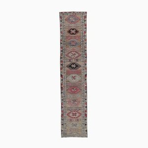 3x12 Vintage Turkish Oushak Hand-Knotted Red Wool Runner Rug