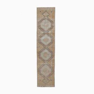 3x14 Antiker Türkisch Oushak Läufer Teppich aus Wolle in Orange