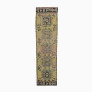 Türkischer Vintage Oushak Vintage Läufer Teppich aus Gelbem Wolle 3x12