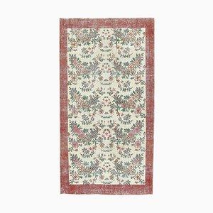 3x5 Handgemachter türkischer Vintage Oushak Teppich aus Wolle mit floralem Muster