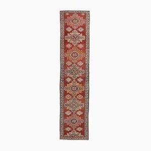3x13 türkischer Vintage Oushak Knoten aus roter Wolle